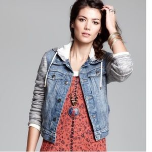 Free People Distressed Denim Jacket w/ Hoodie XS